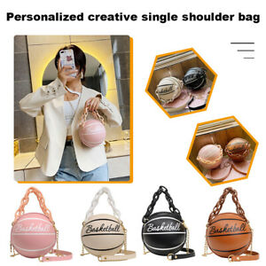 Round Basketball Shoulder Bags Women Totes Acrylic Chain Messenger Handbag Bags