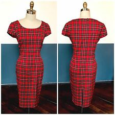 British Retro Red Tartan Plaid Hourglass Wiggle Pencil Dress Sz L 10 Pinup Girl