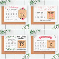 Save The Date Cards Wooden Wedding Fridge Magnets PERSONALISED Boho Calendar