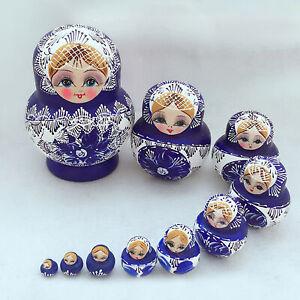 10Pcs/Set Babushka Russian Nesting Dolls Matryoshka Stacking wooden toy Gift