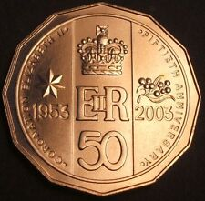 """2003 ""50th Anniversary""Golden Jubilee Coronation""of Elizabeth II 50 Cents Coin"""