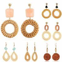 Bamboo Woven Rattan Geometric Vine Round Long Earrings Boho Women Beach Jewelry