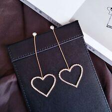 14K Yellow Gold Plated Crystal Heart Hoop Dangle Drop Fashion Earrings 071