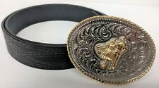 Silver and Gold Toned Western Square Dance Buckle with Size 38 Wrangler Belt