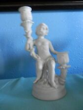 Parian White Porcelain Sculpture Of Boy/Candle Holder, Unmarked, 8.5 in tall