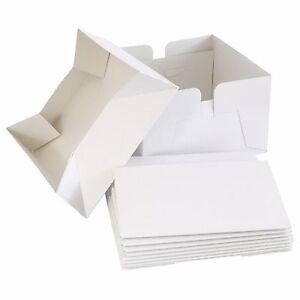 "8"" White Folding Cake Box with Lid - Bulk 5 Pack Cake Boxes"