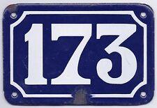 Old blue French house number 173 door gate plate plaque enamel steel metal sign