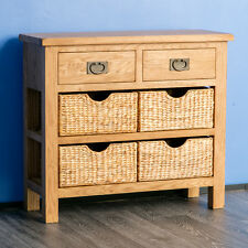 Surrey Oak Console Table / Solid Wood Hall Table with Storage Baskets /Sideboard
