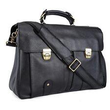 """100% real Cowhide Leather Men shoulder Messenger Bag Briefcase 16"""" laptop black"""