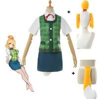 Animal Crossing Isbelle Cosplay Costume Shool JK Uniform Vest Tail Ear Full sets