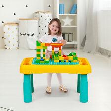 2 in1 Kinder Spieltisch mit doppelseitiger Tischplatte Bausteintisch Kindertisch