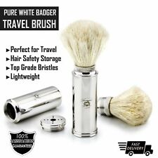 Travel Shaving Brush With Pure White Badger Hair in Madical Grade Brass