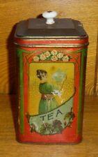 Antique Tea Tin w/ Porcelain Knob On Lid