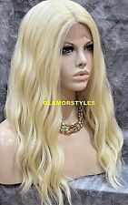 Long Beach Wavy Bleach Blonde Full Lace Front Wig Heat Ok Hair Piece #613