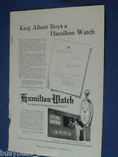 1920 Hamilton Watch advertisement page, NYC, King Albert of Belgium, seconds