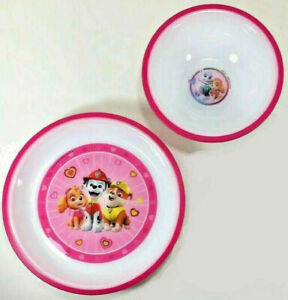 New Playtex PAW PATROL Dinner Set PLATE BOWL Plastic PINK WHITE Skye Everest