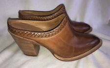 $225 LUCCHESE PATTI GOLDEN TAN LEATHER HEEL MULE BOOTIE WOMEN MINT CONDITION 8.5