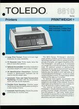 Rare Vintage Original Toledo Scale Brochure: 8810 Series Printweigh Printers