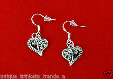 VINTAGE STYLE SILVER FILIGREE HEART CHARM DANGLE EARRINGS~VALENTINES DAY GIFT