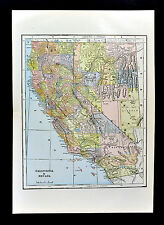 c 1884 Fisk Map - California Nevada San Francisco Los Angeles Carson City Tahoo