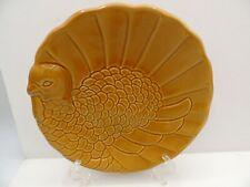 3 Pottery Barn Turkey Plates Brown Sculpted Appetizer Dessert