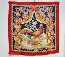 Salvatore Ferragamo Scarf Foulard 100% Pure Silk Designer Ducks Birds Red Boxed