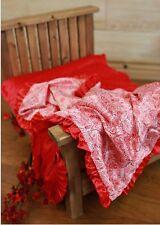 "NEW minky Nursery Baby receiving Blanket Satin Ruffle red paysley 30"""