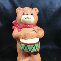 Vintage ENESCO LUCY & ME Ceramic Teddy Bear Drummer Boy Coin Bank