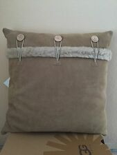 UGG BAILEY BUTTON PILLOW SAND SUEDE SHEEPSKIN 20 X 20 - NWT