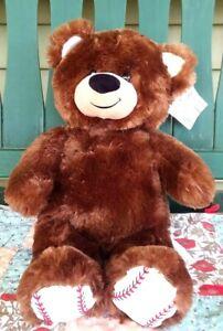 """Build A Bear Baseball Teddy Brown 16"""" Plush Stuffed Animal BAB w/ Hang Tag"""