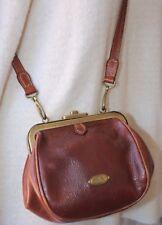 THE BRIDGE leather brass purse handbag bag crossbody shoulder clutch VTG Italy