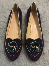 Charlotte Olympia Pisces Zodiac/ Birthday Purple Suede 39 Flat Shoes