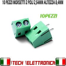 10pz morsettiera 2 poli a vite passo 2,54mm altezza 8,4mm morsetti Arduino