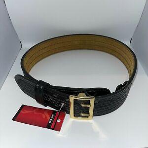"""Safariland 87 Duty Belt Basketweave Black w/ Brass Buckle (87-34-8B) - 34"""""""