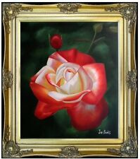 Framed Quality Hand Painted Oil Painting Vivid Rose with Bud 20x24in