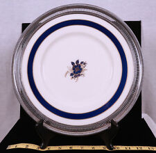 """LENOX  BLUE BELL COBALT PATTERN R371B WITH STERLING SILVER RIMMED 12""""  PLATE"""