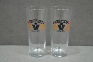 Pair Of (2) Madness Brewing Company One Pint Beer Glass 20oz 568ml Brand New