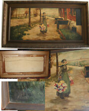 """FLOWER VENDOR GIRL VERY OLD BY LISTED LENZ, GORGEOUS DETAIL SIGNED 47.5"""" BY  26"""""""