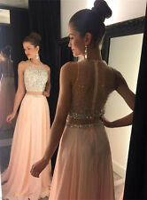 2018 Two Piece Cocktail Dress Long Beads Evening Pageant Prom Formal Party Gown