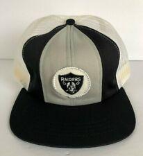 Vintage 80s NFL LA Oakland Raiders Trucker Hat Mesh Football Cap w/ Defect Snap