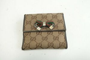 Authentic GUCCI GG PVC Brown Leather Wallet #10095