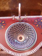 Marocain Bleu Petit Peint à la main en céramique Brillant Rond évier lavabo