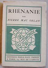 Rhénanie Pierre Mac ORLAN éd Hazan 1927 N° 119