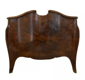 Antique 19th C. Louis XV Style Walnut Burl Parquetry Footboard Scrolling Inlays