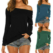 Womens Autumn Casual Long Sleeve Off Shoulder Solid T Shirts Ladies Blouses Tops