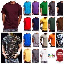 Men HEAVY WEIGHT T-Shirt Plain Crew Neck Hipster Sports GYM Fitness Big & Tall