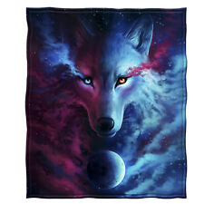 Dawhud Direct Celestial Wolf Super Soft Plush Fleece Throw Blanket