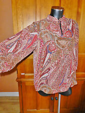 CHAPS Denim Chiffon Poly Paisley size L Peasant Boho dress TOP BLOUSE Tunic A71