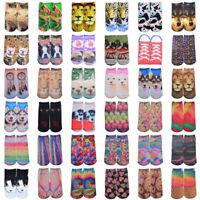 Wholesale Lot 10 Pairs 3D Printed Animal & Food Low Cut Ankle Socks Discount