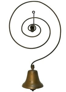 LATE 19TH C AMERICAN ANTIQUE BRASS BELL/COILED WIRE MERCANTILE DOOR BELL/ALARM